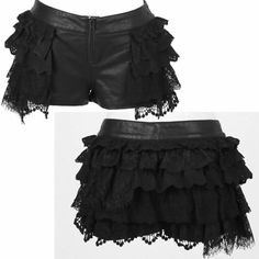 Sexy Women Black PU Leather Lace Low Rise Goth Burlesque Fashion Shorts SKU-11404267