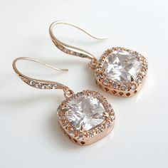 Rose Gold Wedding Earrings Bridal Jewelry Square Drop Cubic