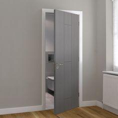 Contemporary Interior Doors, Painted Interior Doors, Painted Doors, Grey Interior Paint, Grey Paint, Oak Glazed Internal Doors, Internal Doors Modern, Mdf Doors, Wooden Doors