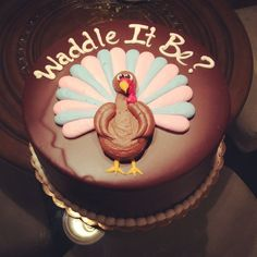 This is a cute idea for decorating a cake for Thanksgiving day (because we will find out the sex of our baby right before Thanksgiving).