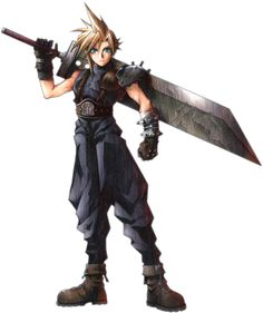Cloud Strife, Final Fantasy 7- Always perfect hair, insanely bad-ass sword, and Popeye arms... If he's not on your side, consider switching sides.