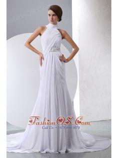 Simple Column Halter Beading and Ruch Wedding Dress Chapel Train Chiffon