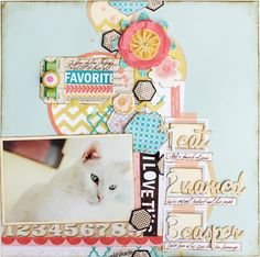 ChristineMiddlecamp-Love the Hex usage & numbered title treatment.  Use up some of Pink Paislee's Nautical line, great soft colors and the hexagon chipboard pieces would work great too!