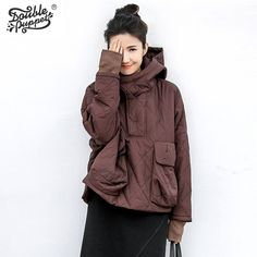 Double puppet hot sales 2017 fashion slim new design style solid hooded coat long sleeve cotton-padded clothes women 364027