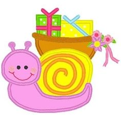Snail with Presents App 3 Sizes   Birthday   Machine Embroidery Designs   SWAKembroidery.com Bella Marie Boutique