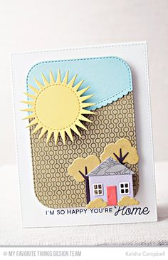 No Place Like Home Stamp Set, Lined Up Dots Background, Floral Fantasy Background, Home Sweet Home Die-namics, Radiant Sun Die-namics, Stitched Scallop Basic Edges Die-namics - Keisha Campbell #mftstamps