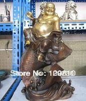 """00782 917"""" Tibet classic Bronze Maitreya Buddha Ride on Fish Statue #Affiliate"""