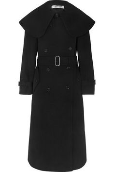Black wool-blend twill Button fastenings through double-breasted front wool, polyester; Comme Des Garcons, Winter Coats Women, Personal Shopping, Military Fashion, Black Wool, Double Breasted, Wool Blend, Sweaters, Tops