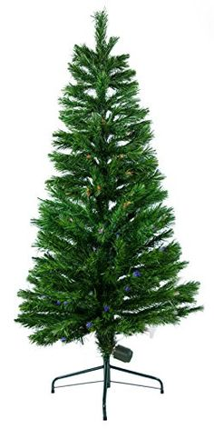 7 ft Fiber Optic Green Artificial Holiday Christmas Tree w Fiber Optic Lights ** More info could be found at the image url.