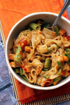 Spicy Thai Peanut Vegetable Curry Noodles - Joanne Eats Well With Others