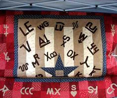 Yavapai Cowbelles 2007 quilt (Prescott, Arizona). The quilt displays brands from local ranches.