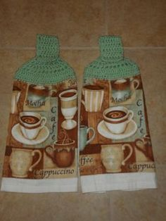 Coffee theme - Kitchen decor hanging hand towels - PURCHASE SUPPORTS TROOPS
