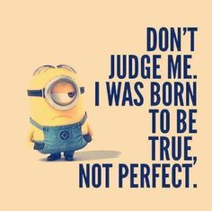 Don't judge me. I was born to be true, not perfect.    Minion!