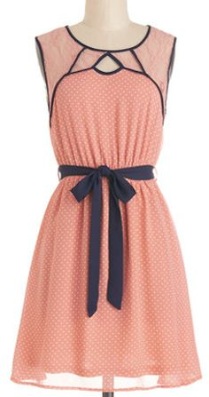Sweet dress in #coral with polka dots and lace http://rstyle.me/n/gc6mmnyg6