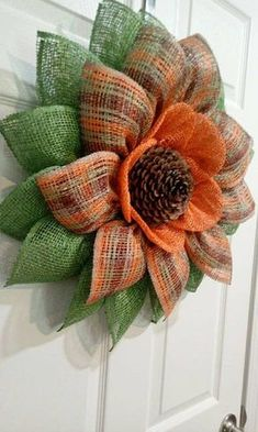 New colorful door wreaths flower 41 Ideas Sunflower Burlap Wreaths, Fall Mesh Wreaths, Burlap Flowers, Wreaths For Front Door, Door Wreaths, Wreath Fall, Pumpkin Wreath, Burlap Crafts, Wreath Crafts