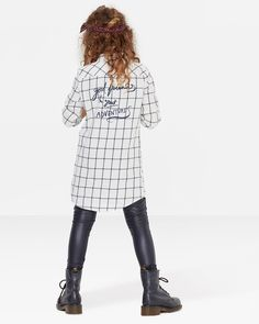 MEISJES WHITE CHECK BLOUSE Wit