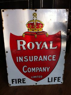 Porcelain Sign Royal Insurance Company   by karriearthurspaper, $160.00   etsy