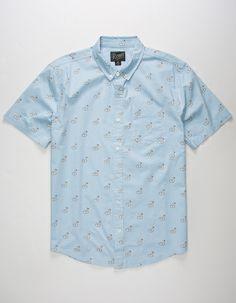 Large, White//Junk Food Retrofit Mens Short Sleeve Woven Button Up Shirt