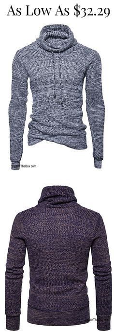 Vintage solid turtleneck knitted men sweater / pullover in light/ dark grey / black colours at just $32.29. Click to shop!