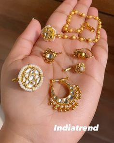 """Indiatrend on Instagram: """"New nose ring alert! All these gorgeous nose rings are part of our Dia Collection! Clip ons that are comfy to wear and are the perfect…"""" Nose Jewelry, Nose Rings, Comfy, Jewels, Bracelets, Earrings, How To Wear, Gold, Collection"""