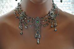 Victorian Bridal Necklace,Swarovski Crystal VITRAIL MEDIUM Choker Necklace,Swag,Antique Silver,Statement,Bib,Vintage Style,Ooak,GLITZ. $459.00, via Etsy.