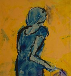 Woman in blue dress with short sleeve and bag. by ankaGilding