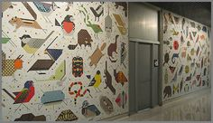 Charley Harper's genius translated in two large mosaic murals in the John Weld Peck Federal Building in Cincinnati, Ohio (1964). These large scale works (18 x 10.5 feet), depict 100 animals.