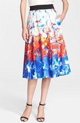 Milly 'Katie' Watercolor Print Pleated Midi Skirt
