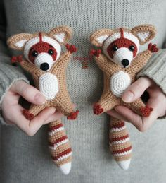 Knitted toys crochet knitting scheme raccoon amigurumi description