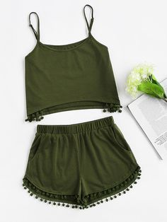 Online shopping for Pom Pom Detail Cami And Shorts Set from a great selection of women's fashion clothing & more at MakeMeChic. Cute Outfits For School, Cute Summer Outfits, Outfits For Teens, Trendy Outfits, Cool Outfits, Teen Fashion, Korean Fashion, Fashion Outfits, Womens Fashion