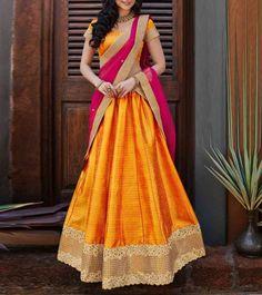 Lehenga Designs For Your Fashionable Ethnic Look Lehenga Designs, Half Saree Designs, Blouse Designs, Half Saree Lehenga, Lehnga Dress, Silk Lehenga, Anarkali, Orange Lehenga, Banarasi Sarees