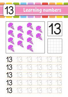 Number 13 Preschool Worksheet Trace and Write Handwriting Practice Learning Numbers for Preschool Number Worksheets, Alphabet Tracing Worksheets, Preschool Writing, Numbers Preschool, Handwriting Worksheets, Preschool Letters, Learning Numbers, Handwriting Practice, Learning To Write