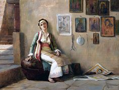 """Greece~~~Theodore Jacques Ralli """"A Moment's Rest,undated Private Collection Lausanne, A4 Poster, Poster Prints, Greek Paintings, Jean Leon, Christian Artwork, Greek Art, 10 Picture, Oil Painting Reproductions"""
