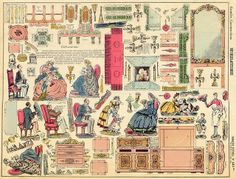 d'Epinal paper toy sheet No. 423 ter. Meubles Accessories flickr find at https://www.flickr.com/photos/taffeta/2700547665/in/set-72157626790129899