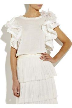 Sew Ruffle Sleeve on dress. (Lanvin)