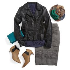 It's sweater (skirt) weather. Easily incorporate texture into your day-to-day wardrobe with a knit pencil skirt. Add a moto jacket for a touch of edge for a night out.