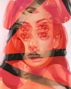 """Oil painter Alex Garant, also known as """"Queen of Double Eyes,"""" brings a new collection of works to Arch Enemy Arts in Philadelphia. """"Viscera,"""" which kicks off Friday (Jan. Alex Garant, A Level Art Sketchbook, Reflection Art, Montage Photo, Oil Painters, Glitch Art, Branding, Portrait Art, Portraits"""
