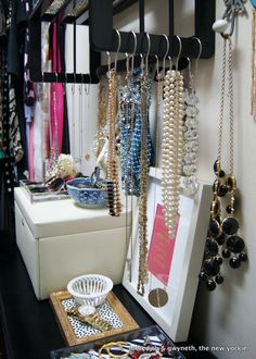 DIY Closet Accessories Storage: Shower hooks to hang your neckalces & bracelets.. Want to add to your jewelry collection? visit my site http://ceorio.avonrepresentative.com/ XoXo