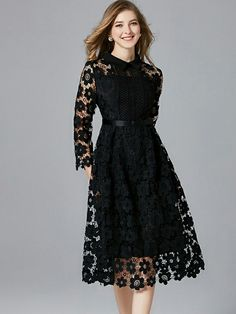 Black Lapel Hollow Out Plus Size Lace Dress : Black Lapel Hollow Out Plus Size Lace Dress Trendy Dresses, Elegant Dresses, Cute Dresses, Beautiful Dresses, Casual Dresses, Fashion Dresses, Skater Dresses, Women's Fashion, Cheap Fashion
