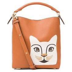 LOEWE T Bucket Cat Small Bag Tan/White (53.377.915 VND) ❤ liked on Polyvore featuring bags, handbags, satchels, white, white purse, white leather handbags, metallic leather handbags, leather purses and white handbags