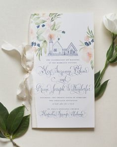 Regal Navy and Gold Foil Calligraphy Wedding Invitations by Kara Anne Paper