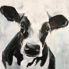 """260 Likes, 17 Comments - Kirsten Dill (@sonoran_watercolors) on Instagram: """"Henrietta 20x20 acrylic on canvas #bw #moo #cow #cows #cowsofinsta #crazycowlady #farmlife…"""""""