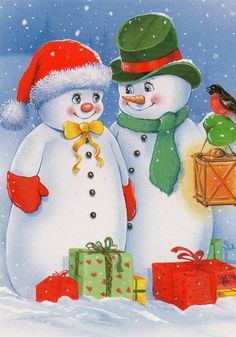 новый год, снеговики