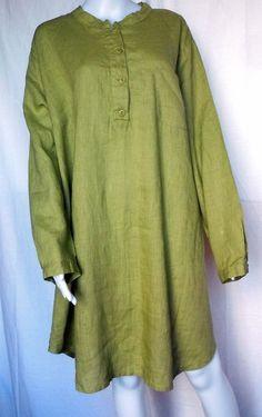 FLAX UNDERFLAX Nightshirt, Palm Green Linen, 1G (1X), NWOT #Flax #Blouse