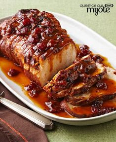 Slow-Cooker Cranberry-Orange Pork Roast – Cranberry sauce and the juice and zest of an orange, work their tasty magic in the slow-cooker so you can come home to this sweet and tart roast pork loin recipe. Crock Pot Slow Cooker, Crock Pot Cooking, Slow Cooker Recipes, Crockpot Recipes, Cooking Recipes, Slow Cooker Pork Loin, Game Recipes, What's Cooking, Recipies