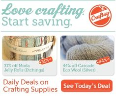 Get daily deals on yarn and fabric from Craftsy