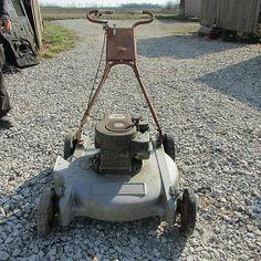 OLD Antique Vintage GAS Lawnmower Push Mower Deck B S Engine   eBay