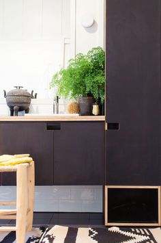 bathroom dark cabinetry fern Kaytar home Painted plywood - my favorite Kitchen On A Budget, New Kitchen, Kitchen Interior, Interior Design Living Room, Cuisines Diy, Plywood Kitchen, Design Your Kitchen, Home Kitchens, Kitchen Cabinets