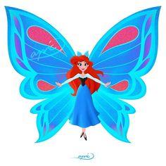 Ariel [as a butterfly] (Drawing by ApicolloDraws Disney Belle, Disney Princess Art, Disney Fan Art, Disney Dream, Disney Love, Disney Magic, Disney Princesses, Disney And Dreamworks, Disney Pixar