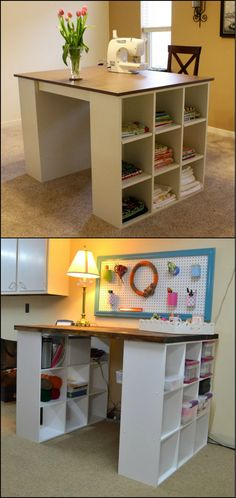How to Build a Craft Table From Bookshelves  http://theownerbuildernetwork.co/easy-diy-projects/diy-bookshelf-craft-table/  With two small bookshelves as table legs, a thick board for the working surface, and a little paint, you can build yourself a craft table.  Do you need one of these in your home?